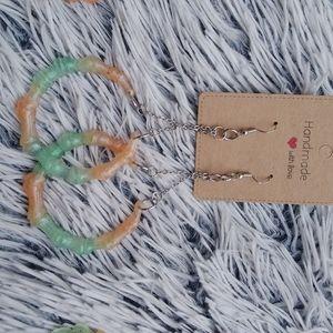 3 for $15 Cute handmade epoxy dangle hoop earrings